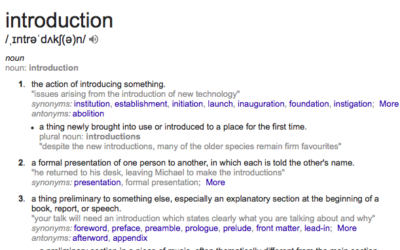 An introduction to introductions.